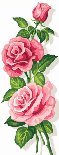 Kanwa z nadrukiem różowych róż do wyhaftowania kolorową muliną.