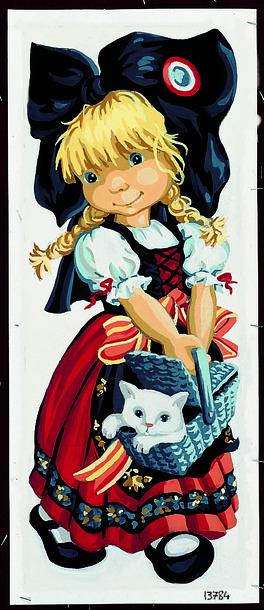 Kanwa z dziewczynką - obrazek do haftu francuskiej marki Royal Paris.