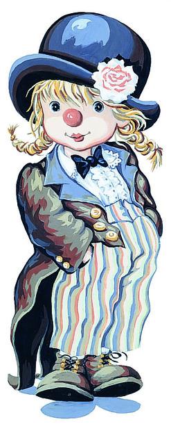 Kanwa do haftu z obrazkiem przedstawiającym dziewczynkę - klauna zaprojektowana przez francuskiego artystę