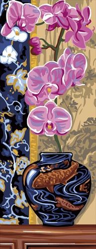 Kanwa ze wzorem Orchidei - piękne kwiaty w wazonie do haftu, które wyhaftujesz różnymi technikami kolorową muliną.