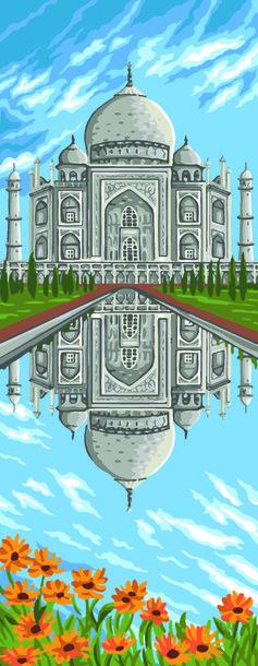Obrazek z widokiem na Tadż Mahal. Wzór do wyhaftowania mulinami DMC, Anchor lub Ariadna.