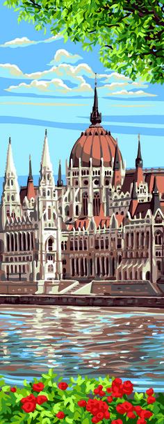 Kanwa z obrazkiem parlamentu węgierskiego do wyhaftowania haftem krzyżykowym lub gobelinowym.