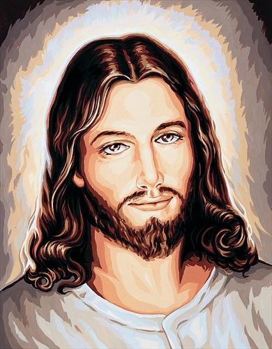 Jezus Miłosierny na francuskiej kanwy do haftowania mulinami.