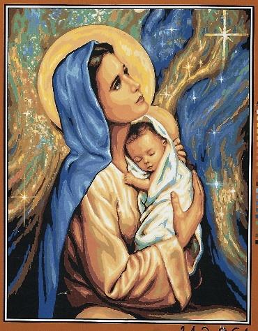 Kanwa z nadrukiem w tematyce religijnej przedstawiająca Maryję z dzieciątkiem.