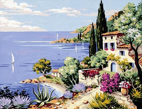 Kanwa z obrazem morza śródziemnego.