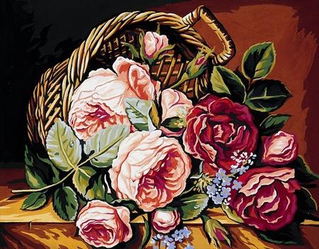 Kanwa bawełniana z nadrukiem przedstawiająca kosz pełen róż - do haftu krzyżykowego i gobelinowego.