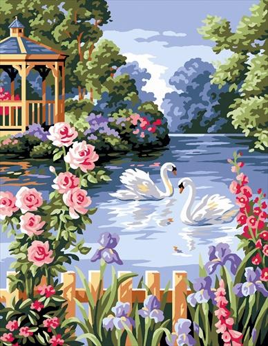 Kanwa z obrazkiem o tematyce pejzaży i krajobrazów pod tytułem