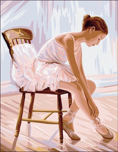 Kanwa z obrazem baletnicy - materiał do haftowania mulinami stworzony z bawełny.