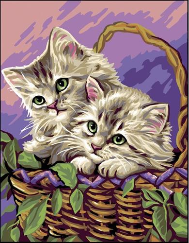 Kanwa bawełniana z nadrukiem przedstawiającym 2 małe kotki.