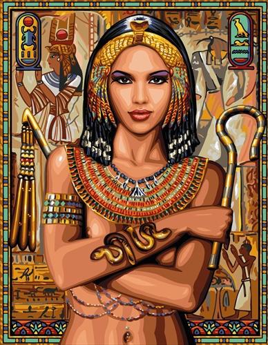 Kanwa z portretem księżniczki egipskiej. Wielokolorowy materiał do haftowania mulinami.