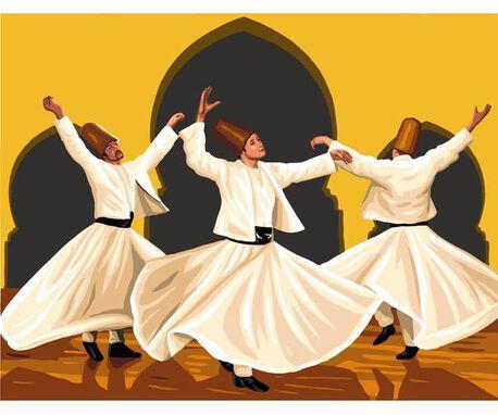 Kanwa Royal Paris z obrazkiem tańczących derwiszy.