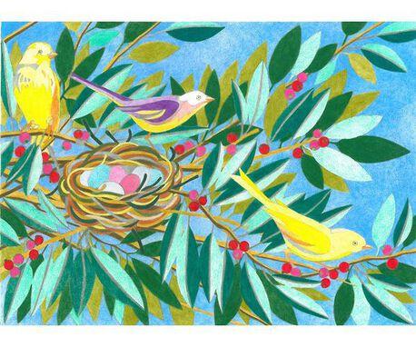 Kanwa francuska z obrazkiem ptaków koło gniazda do haftowania.