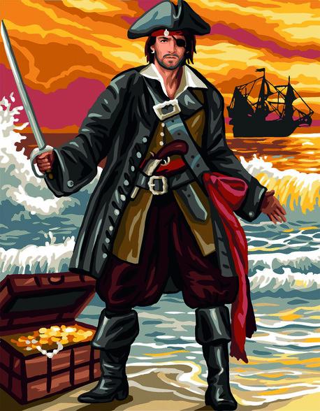 Kanwa ze wzorem do haftu przedstawiająca pirata do wyhaftowania muliną.