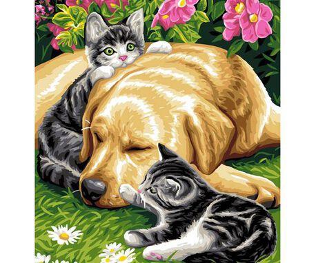 Wzór do haftu na kanwie bawełnianej o tematyce zwierząt.