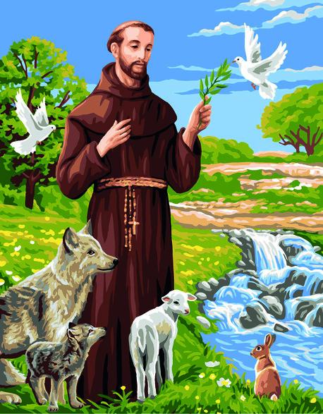 Kanwa francuska w religijny wzór Świętego Franciszka.