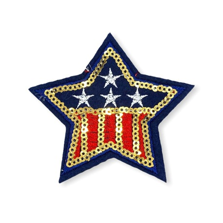 Naszywka - gwiazdka do przyprasowania na ubranie ozdobiona cekinami