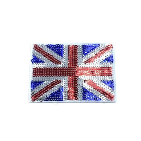 Aplikacja cekinowa ozdobna ze wzorem flagi Wielkiej Brytanii.