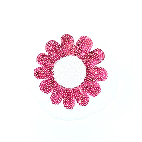 Kwiatek cekinowy w kolorze malinowym do naprasowania na bluzkę