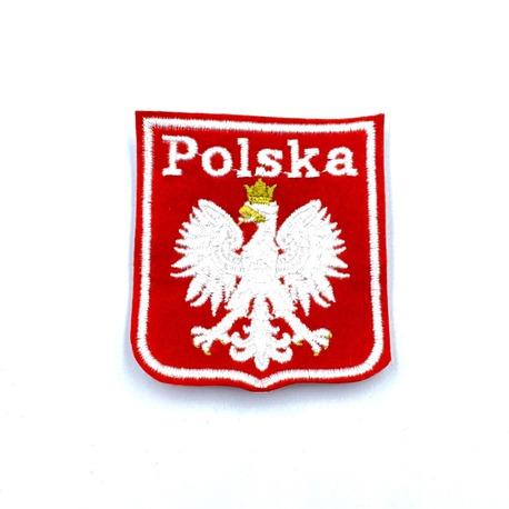 Aplikacja na ubranie - biało-czerwony herb Polski do naprasowania.