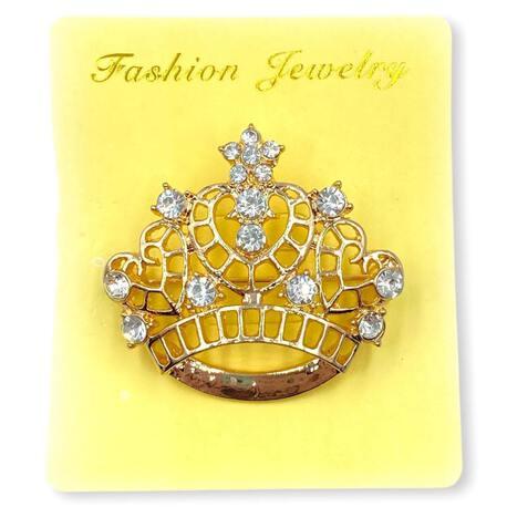 Broszka do ubrań wzór złota korona