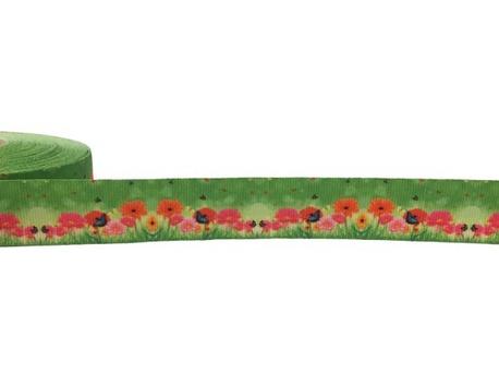 Taśma ozdobna rypsowa w kwiatki na zielonym tle o szerokości 2cm.