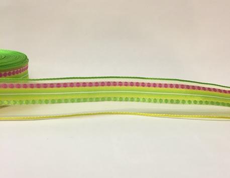 Wstążka ozdobna wiosenna z drucikiem szer. 2,5cm (1)