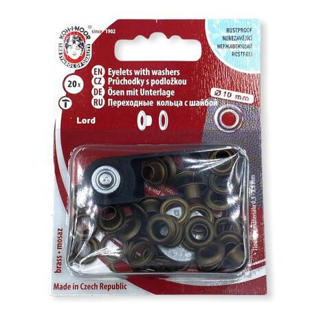 Oczka kaletnicze w kolorze mosiądzu. Używane do wyrobów włókienniczych - średnica 10mm.