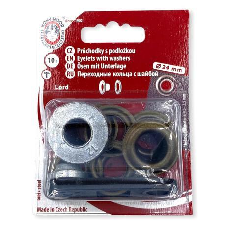Duże oczka metalowe, kaletnicze w kolorze mosiężnym o średnicy 24mm.