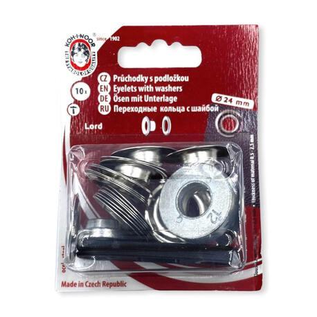 Oczka metalowe - kaletnicze do wyrobów włókienniczych w kolorze srebrnym.