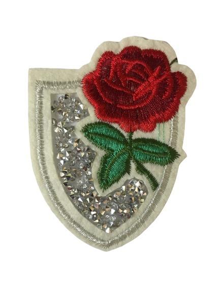 Aplikacja z różą ze świecącymi dżetami do przyprasowania do dowolnej tkaniny