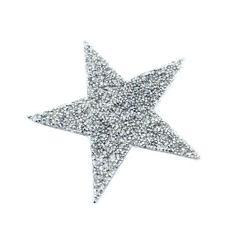 Aplikacja z dżetami w kształcie srebrnej gwiazdy.