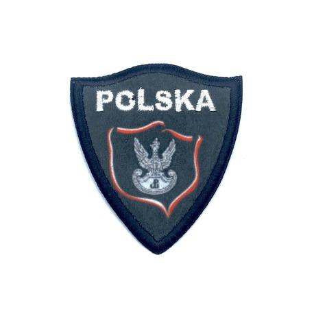 Naprasowanka czarno-biała Polska ze znakiem Polski Walczącej - gotowa ozdoba do naprasowania.