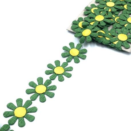 Aplikacja na taśmie zielone kwiaty 3cm (1)