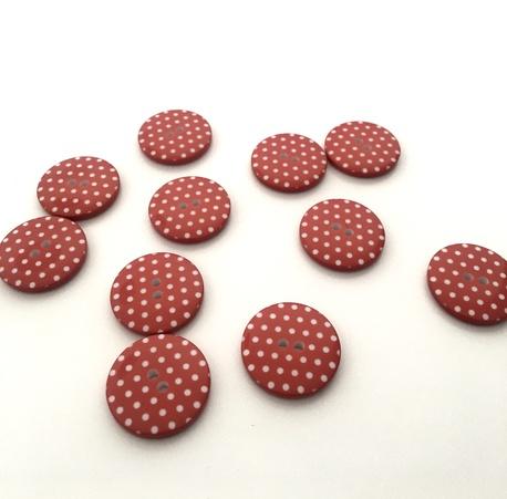 Guzik plastikowy czerwony w kropki 23mm (1)