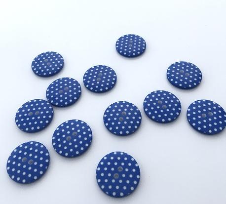 Guzik plastikowy niebieski w kropki 23mm (1)