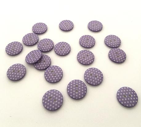 Guzik plastikowy fioletowy w kropki 15mm (1)