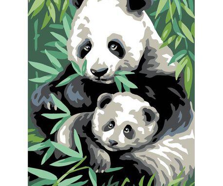Kanwa z nadrukiem ze wzorem pandy. Doskonały materiał do haftu gobelinowego i krzyżykowego.
