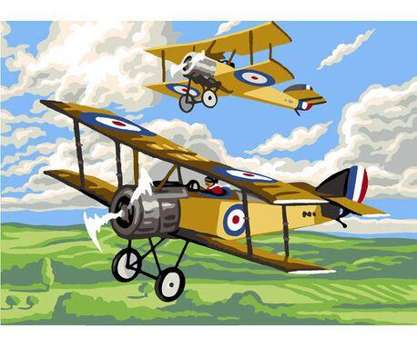 Kanwa francuska z nadrukiem samolotów do haftowania muliną.