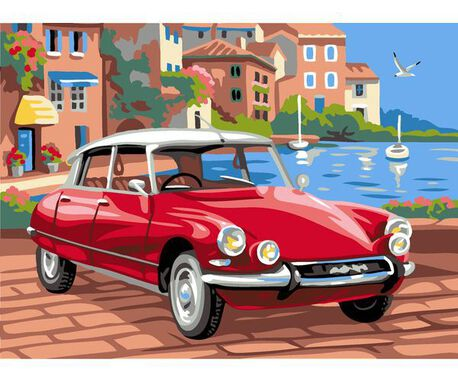 Kanwa z nadrukiem mała do wyszywania wzorów muliną - obrazek czerwonego samochodu.