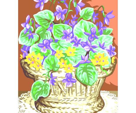 Kanwa w tematyce kwiatów - Kosz fiołków. Piękna kanwa ze wzorem do wyszycia nićmi do haftu.