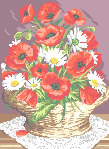 Kanwa francuska we wzór kwiatów - Kosz maków. Wyhaftujesz piękny wzór mulinami Anchor i Dmc.