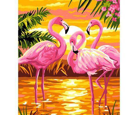Wzory do haftu - flamingi różowe, do wyhaftowania pięknych zwierząt potrzebujesz mulinę. Technika polecana to haft krzyżykowy lub gobelinowy.