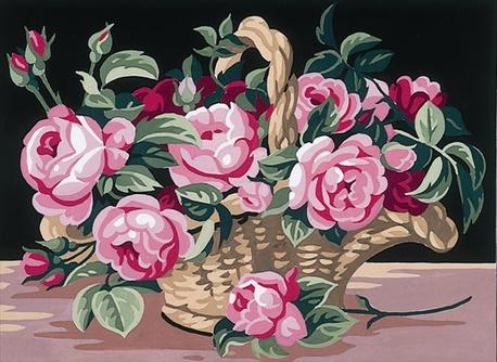 Kosz róż w obrazku na kanwie bawełnianej. Doskonały materiał do haftu krzyżykowego i gobelinowego.