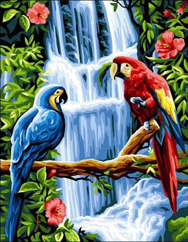 Wzór do haftu na kanwie - kolorowe papugi z tłem.