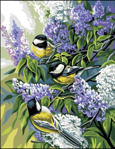 Kanwa ze wzorem sikorek i kwiatków fioletowych. Piękny wiosenny wzór do haftowania.
