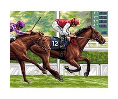 Kanwa z koniem podczas wyścigu do wyszycia na pięknym, bawełnianym materiale.