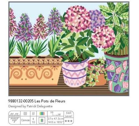 Kanwa z nadrukiem we wzór kwiatów z doniczkami.