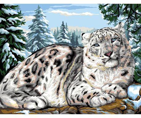 Pantera śnieżna - francuska kanwa z obrazkiem pantery do wyhaftowania na materiale.
