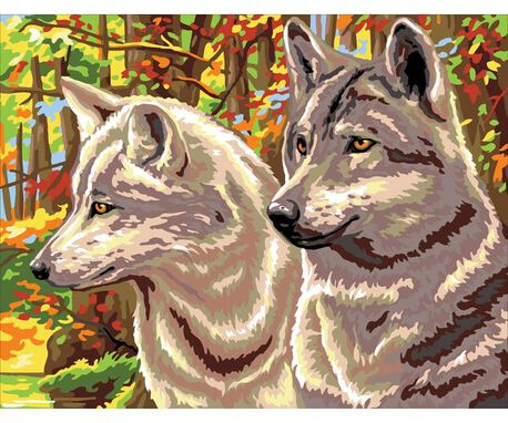 Obrazek do haftu ze wzorem wilków - wyhaftujesz piękny wzór mulinami Anchor i Dmc.