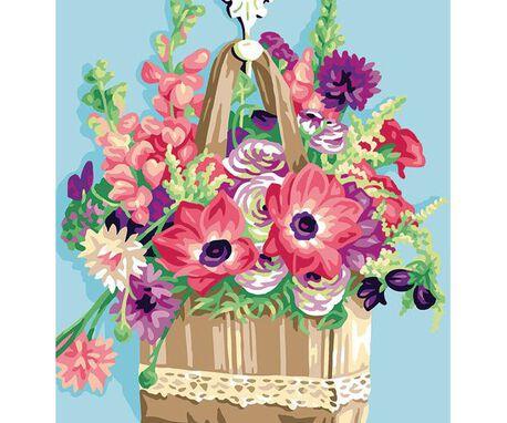 Wzór do haftu - francuska kanwa we wzór kwiatów w koszu.